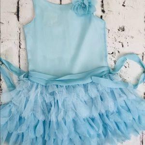 Girls Biscotti dress 5T teal blue holiday dress